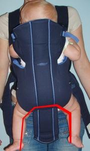Exemplo de mochila tradicional: as pernas do bebê não ficam corretamente posicionadas, o peso do bebê recai unicamente sobre sua zona genital.